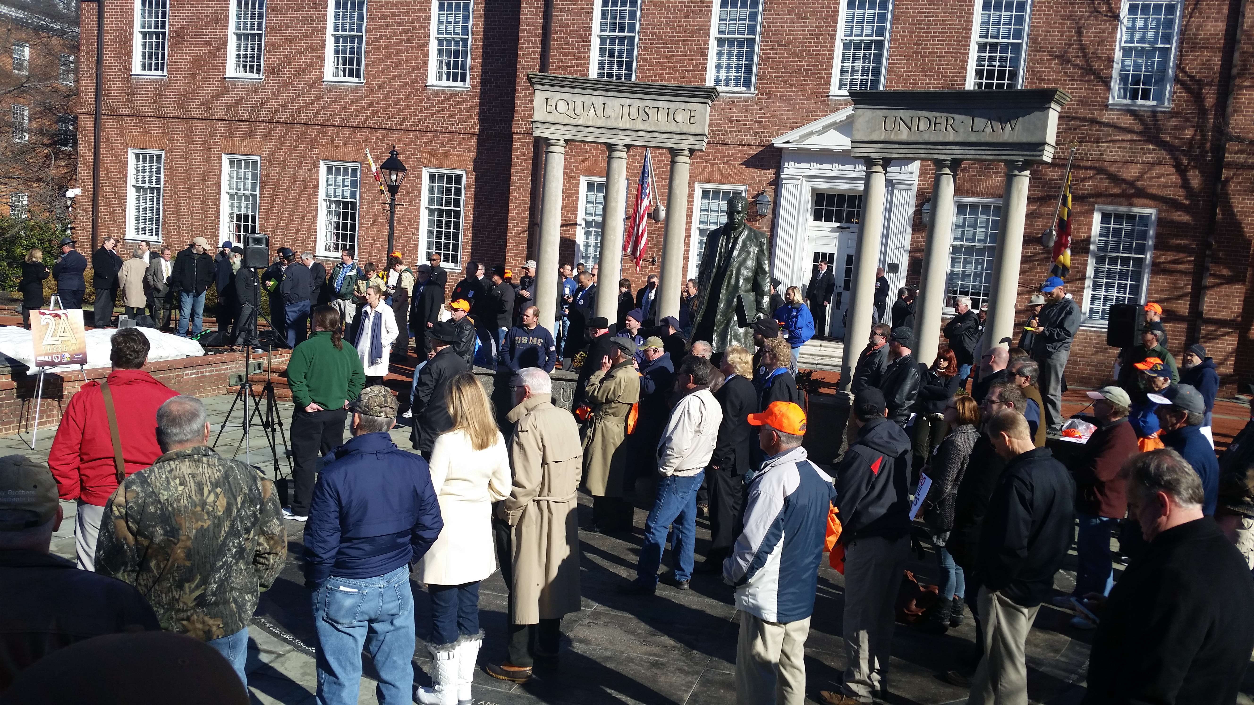 "Around 100 gun enthusiasts gathered outside of the Maryland General Assembly for the annual ""2A Tuesday"" event on February 2, 2016 (CNS Photo by Rachel Bluth)."