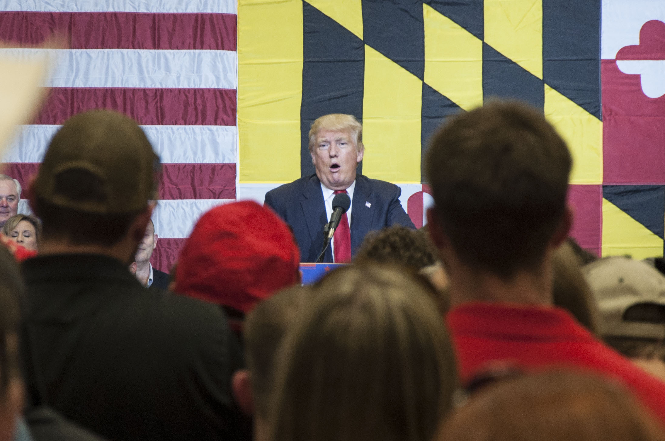 Donald Trump speaks at a rally at Stephen Decatur High School in Berlin, Md. His inaugural concert lineup falls short of Obama's in album sales and amount of artists. Photo by: Rebecca Rainey