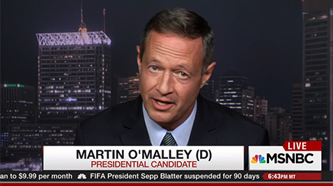 Presidential hopeful and former Maryland Gov. Martin O'Malley on All In with Chris Hayes on MSNBC Thursday night/Photo courtesy- MSNBC Website