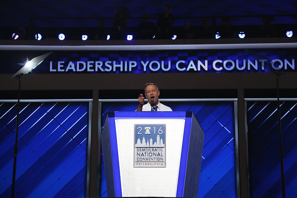 """Former Maryland Gov. Martin O'Malley called Republican nominee a """"bully racist,"""" during his speech Wednesday at the Democratic National Convention. Capital News Service photo by Hannah Klarner."""