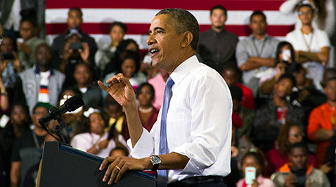 Obama stands at podium in Prince George's County