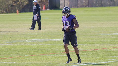 Ravens' wide receiver Chris Givens during practice on Oct. 8, 2015. Photo by Karen Tang.