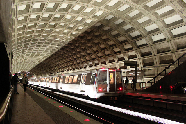 A D.C. Metro train enters the Gallery Place-Chinatown station. (Photo courtesy of RJ Schmidt