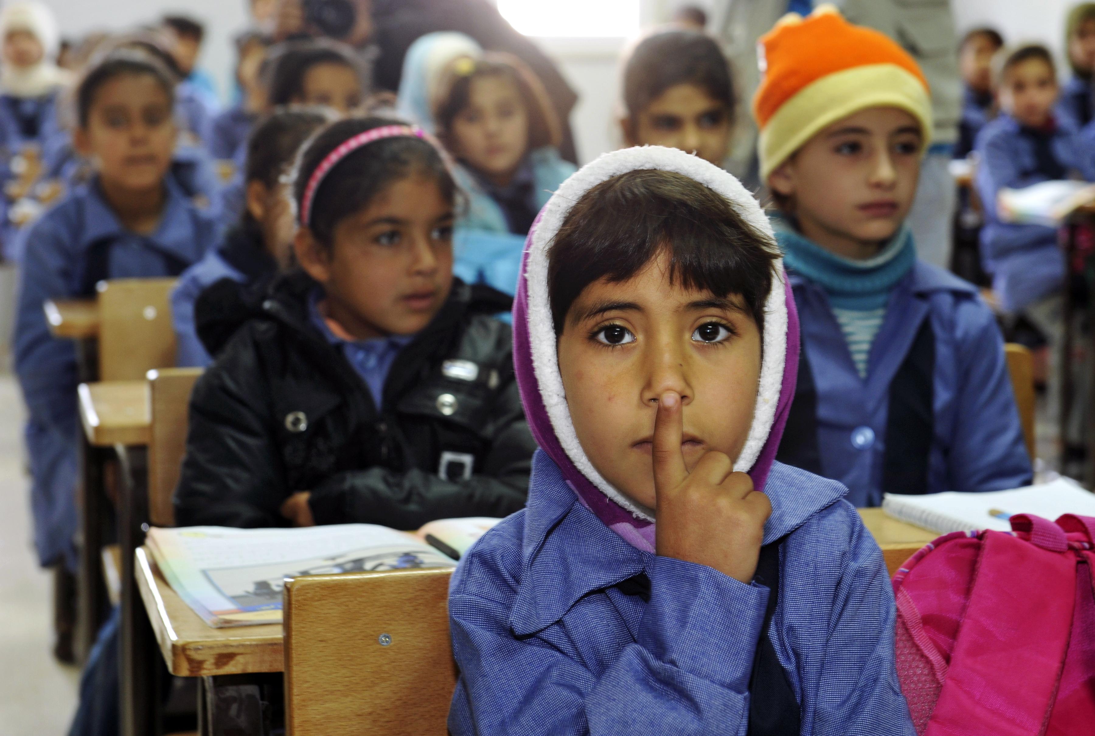 Children sit in a classroom at Zaatri refugee camp near Mafraq, Jordan. (Photo courtesy of United Nations Photo