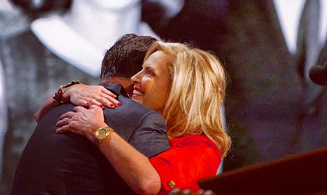Mitt Romney hugs his wife, Ann, after her speech at the Republican National Convention on Aug. 28, 2012. (Photo courtesy of Mitt Romney's Instagram account)