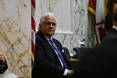 Senate President Thomas V. Mike Miller Jr. sits in the Maryland State House before Gov. Larry Hogan delivers his State of the State address in Annapolis on February 3, 2016. (Capital News Service photo by Jessica Campisi).