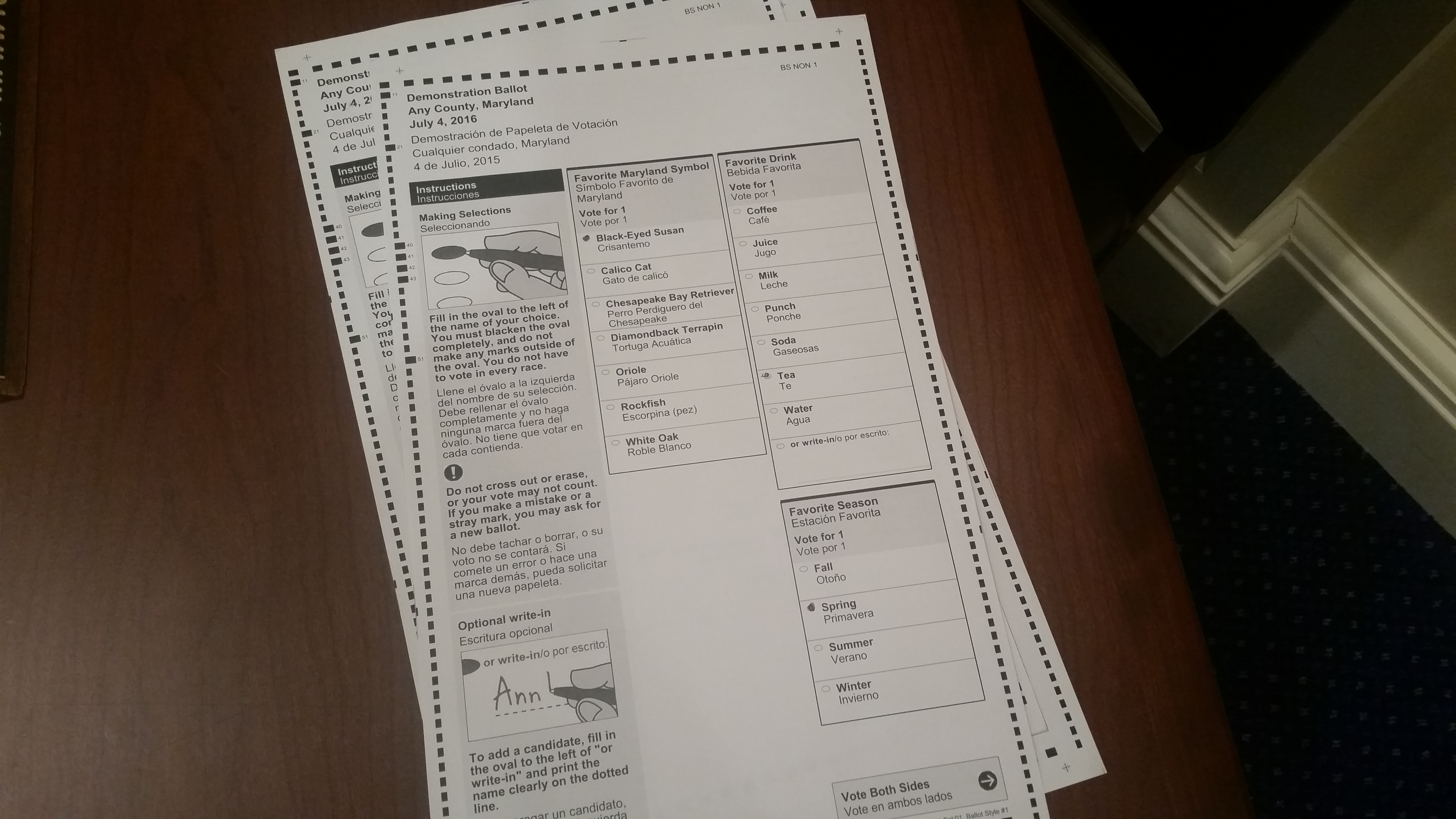 In April 2016, Maryland will switch from touch-screen ballots to paper ones like this. The Maryland State Board of Elections showed samples of the new ballot in Annapolis on Friday, January 29, 2016. (Capital News Service photo by Rachel Bluth.)