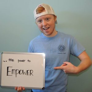"""Benjamin Kennedy is a junior at the University of Vermont, where he worked for their Orientation Program, and said he was proud to be able to be the go-to person for trans students and families. Each orientation member was asked to complete the phrase, """"Orientation gave me…"""", which he said was the power to empower. Courtesy photo from Benjamin Kennedy."""