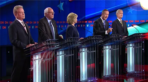 Former Maryland Gov. Martin O'Malley sharing stage with the other candidates at the Democratic Presidential debate held Tuesday in Las Vegas. Photo courtesy- CNN Politics website.