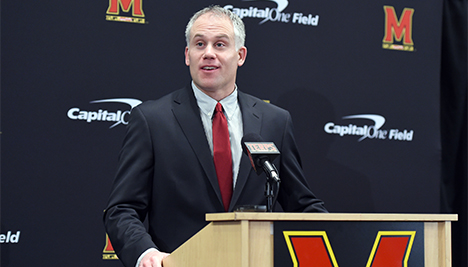 Head coach D.J. Durkin speaks with the media during the Signing Day press conference on Feb 3. (Photo courtesy of Maryland Athletics)