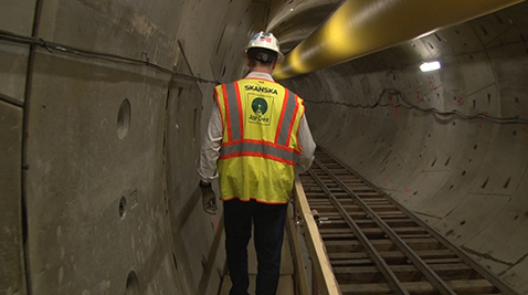 Construction Man in Tunnel