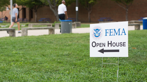 A sign for the FEMA open house in Edgewater, Maryland.