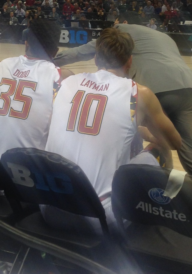Jake Layman rests during a timeout in the Big Ten quarterfinals game against Nebraska on March 11, 2016. (Photo courtesy of Troy Jefferson)