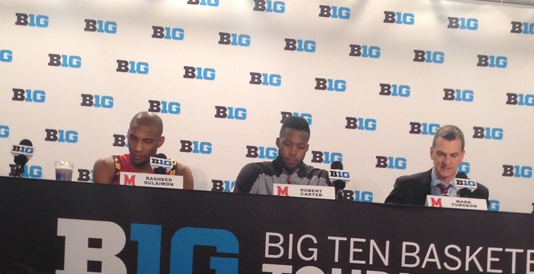 Rasheed Sulaimon (left), Robert Carter (middle), Mark Turgeon (right) address the media after UMD's 64-61 loss against Michigan State in the Big Ten tournament semifinals on March 12, 2016. (Photo courtesy of Troy Jefferson).