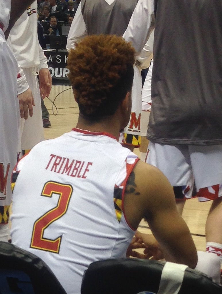 Melo Trimble awaits to hear his name introduced in the Big Ten tournament quarterfinals against Nebraska on March 11, 2016. (Photo courtesy of Troy Jefferson)