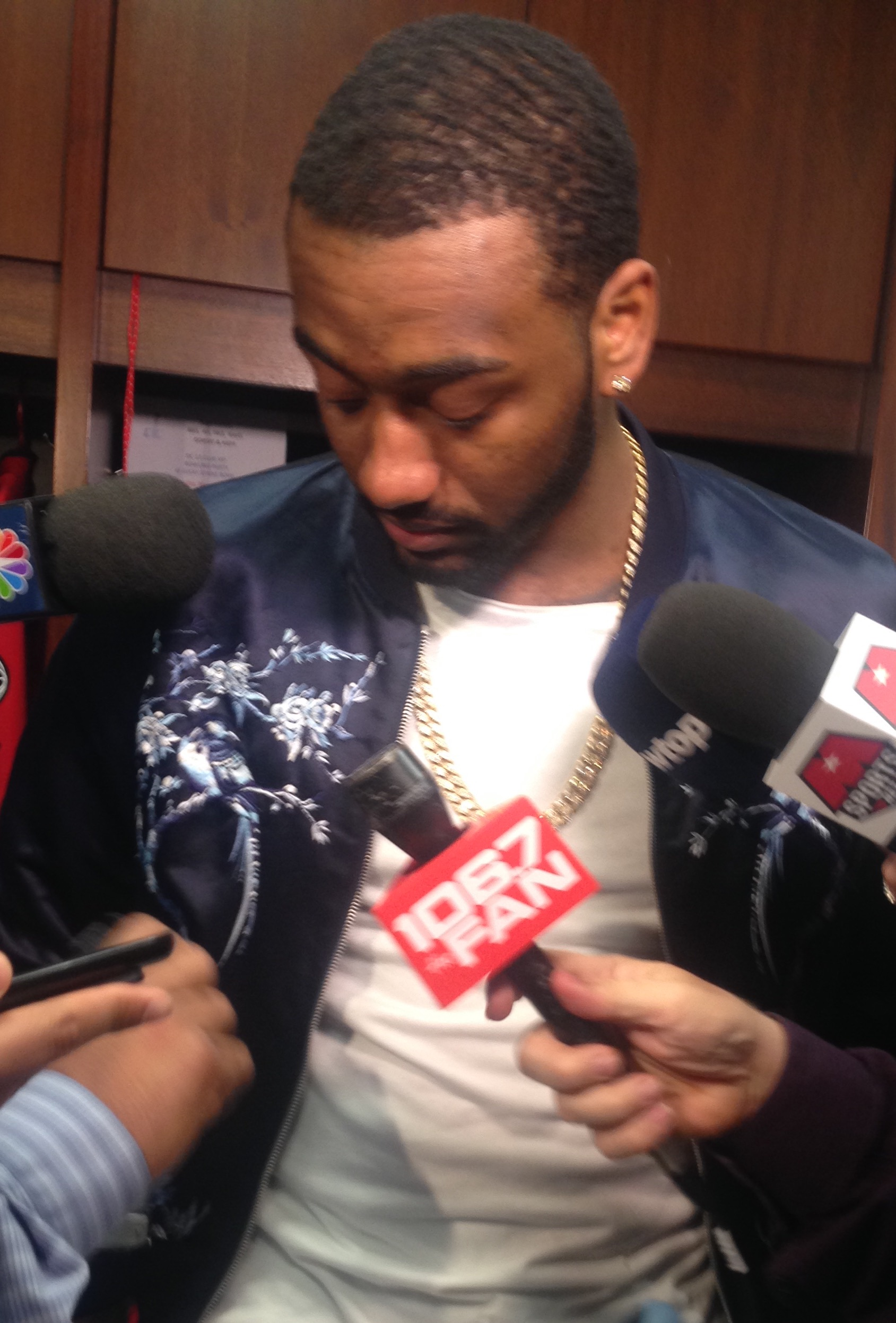 Wizards point guard John Wall addresses the media after Wednesday's loss against the Atlanta Hawks on March 23, 2016.