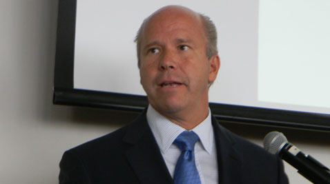 John Delaney speaks to the Maryland delegation to the Democratic National Convention Tuesday. He was welcomed as an insider after spending the primary season as an outsider. (Capital News Service photo by David Gutman)