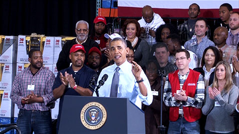 President Barack Obama speaks to a crowd in Prince George's County Wednesday.