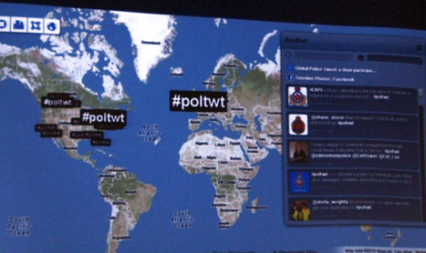 Image of #poltweet has htag trending around the world during Global Police Tweet-a-thon.