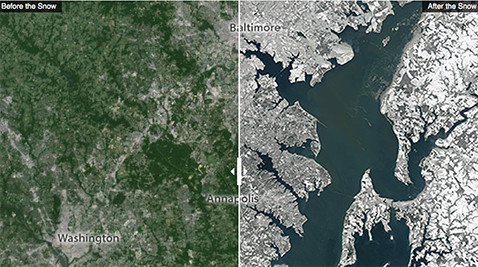 Maryland and D.C. Before and After Winter Storm Jonas 2016.
