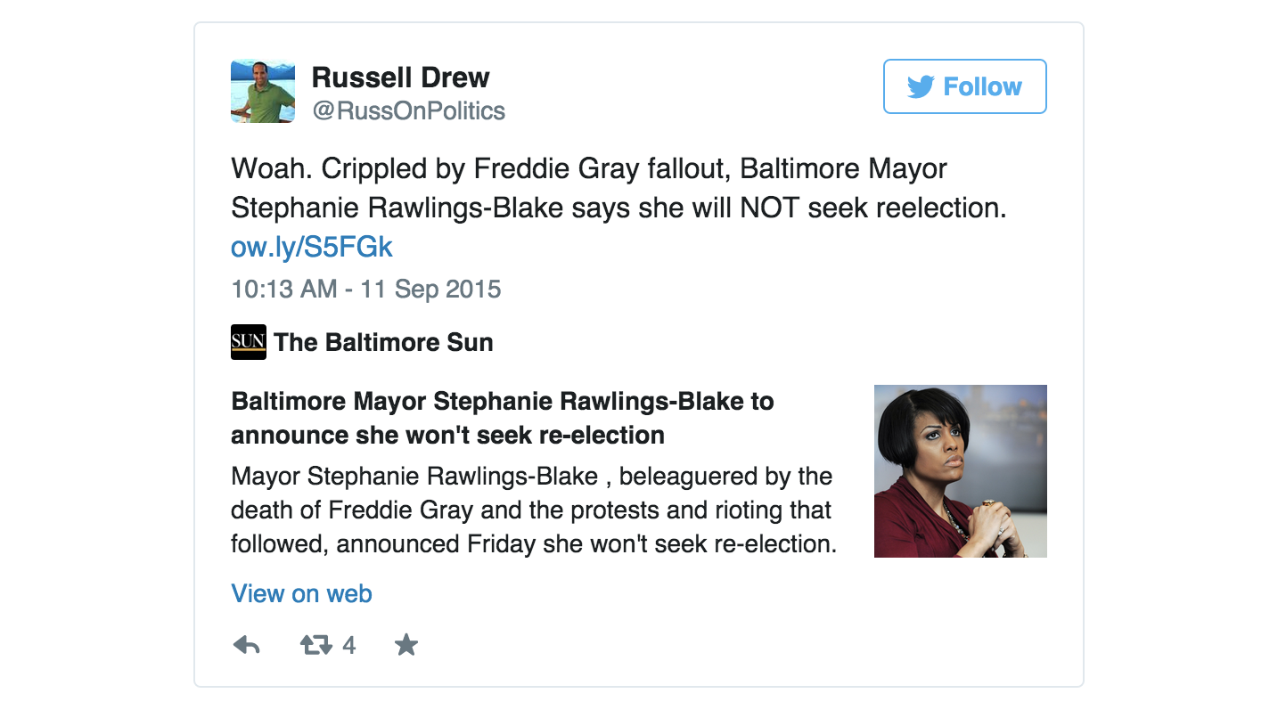 Mayor Stephanie Rawlings-Blake called a press conference Friday morning and made a formal announcement that she would not seek re-election and focus her attention on healing the city in the wake of Freddie Gray's death.