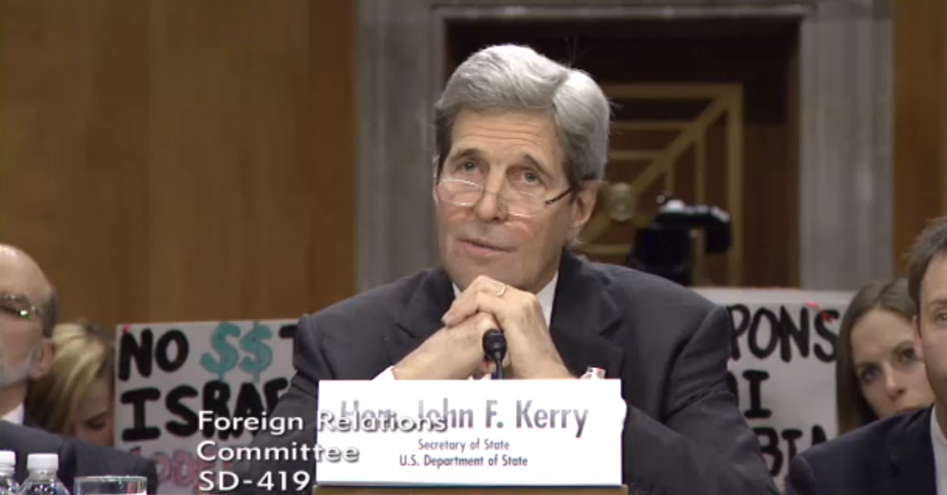 Video picture of John Kerry testifying before the Foreign Relations Senate Committee. (Capital News Service photo by Alexandra Pamias)