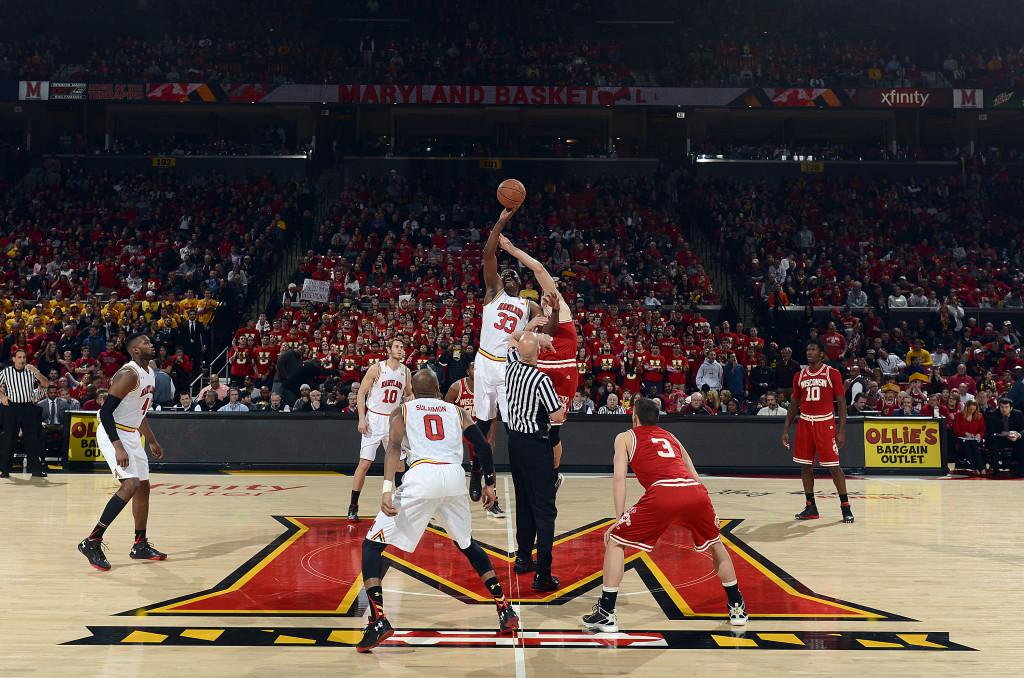Freshman center Diamond Stone and Maryland men's basketball tip off against Wisconsin at Xfinity Center on Feb. 13, 2016. Photo courtesy of Maryland Athletics.