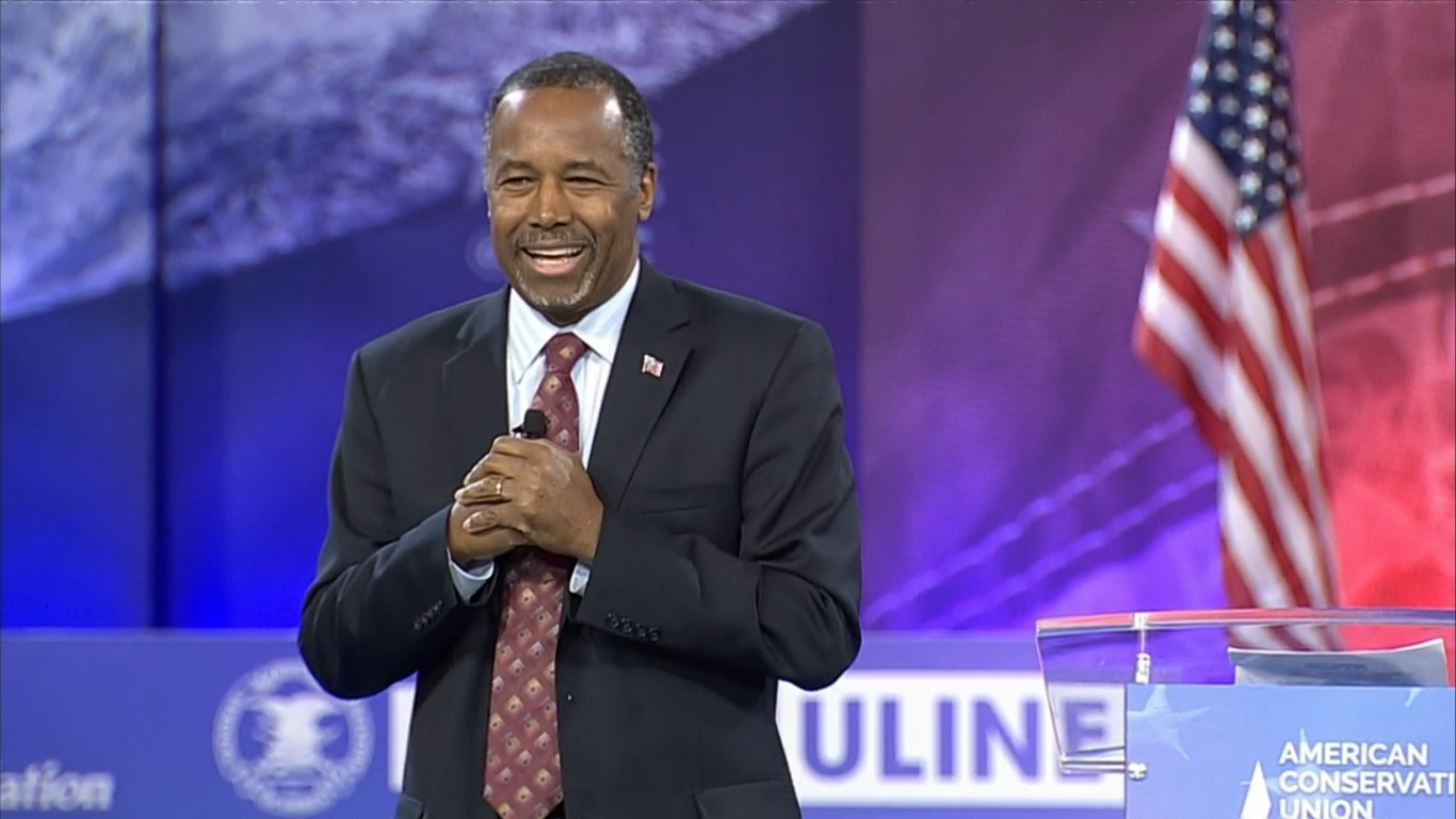 Ben Carson speaks at the Conservative Political Action Conference in National Harbor, Md, where he announced the end to his presidential campaign.
