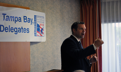 Kansas Secretary of State Kris Kobach on Tuesday encourages Maryland delegates to overturn the Dream Act this fall. (CNS Photo by Caitlin Johnston)