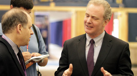 Caption: Rep. Chris Van Hollen, D-Kensington, speaks with reporters during a surprise appearance at the Republican National Convention in Tampa, Florida, on Wednesday, Aug. 30. Van Hollen called Tuesday night's speeches a personal attack on President Barack Obama. (Photo by Carl Straumsheim/Capital News Service)