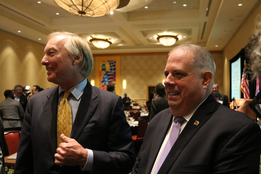 Comptroller Peter Franchot and Gov. Larry Hogan answer questions at the Greater Bethesda Chamber of Commerce breakfast on Friday, Oct. 21, 2016. Capital News Service photo by Vickie Connor