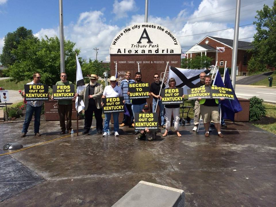 Matthew Heimbach (center, with beard) protests with members of the League of the South and the National Socialist Movement on May 30, 2015 in Alexandria, Kentucky. The Anti-Defamation League considers the National Socialist Movement a neo-Nazi organization. Photo courtesy Matthew Heimbach.