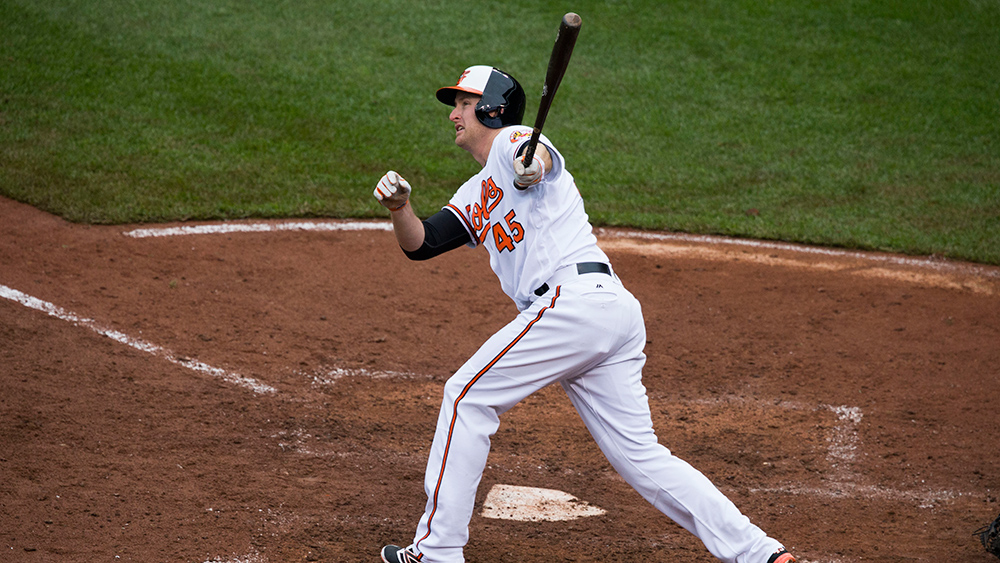 Orioles slugger Mark Trumbo lead the league in home runs in 2016. Photo courtesy Keith Allison/Flickr