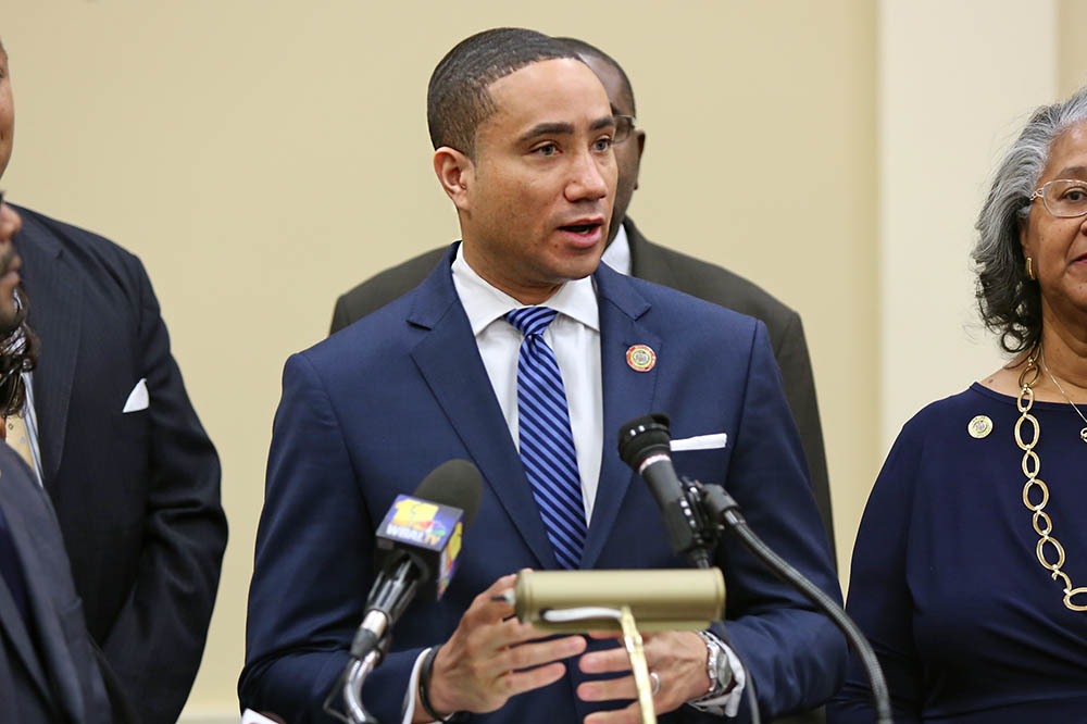 Sen. Will Smith. D-Montgomery, speaks at a Legislative Black Caucus meeting on Jan. 11, 2017, in Annapolis, Md. Smith is sponsoring a bill to ban suspension in nearly all cases for all pre-kindergarten students in public schools. (Hannah Klarner / Capital News Service)
