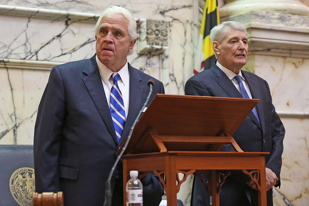 Senate President Mike Miller, left, and House Speaker Michael Busch wait to open the State of the State address in Annapolis, Md. on February 1, 2017. (Hannah Klarner/ Capital News Service)