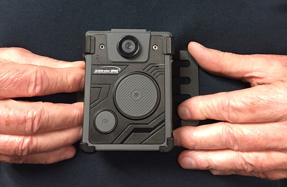 When the Prince George's County Police Department pilot program launches this year, one squad of 10 officers from each of the county's seven districts will be outfitted with body cameras. PGPD will use the Panasonic Aribtrator, a chest-mounted body-worn camera. (J.F. Meils/ Capital News Service via AP)