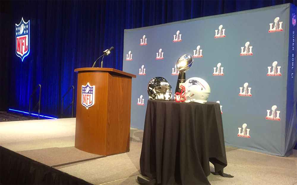 The Lombardi Trophy on display, ahead of a press conference by NFL Commissioner Roger Goodell on Wednesday, Feb. 1, 2017. (Callie Caplan/Capital News Service via AP)