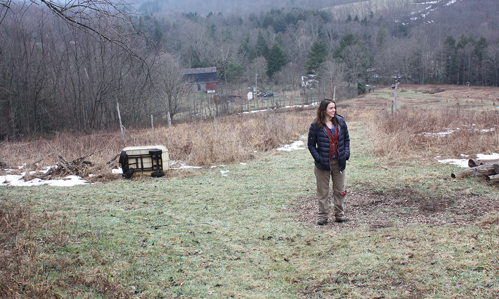 "Farmer and anti-fracking activist Kim Alexander on her farm near Friendsville. ""Economy and ecology go hand in hand,"" said Alexander. (Photo by J.F. Meils/Capital News Service)"