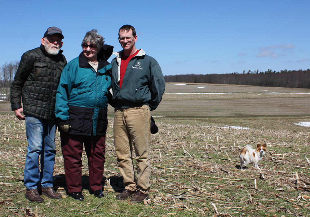 Two generations of Bishoffs on their family farm near Friendsville in Garrett County. Billy (far right) is the president of the Garrett County Farm Bureau and was for fracking. (Photo by J.F. Meils/Capital News Service)