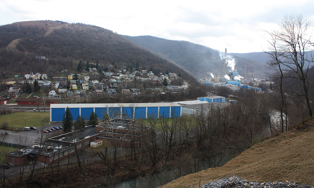 "The coal-powered Verso paper and pulp factory in Luke is a vestige of Allegany's past. ""I worry if that factory closes, this town dies,"" said William Valentine, an Allegany County commissioner. (Photo by J.F. Meils/Capital News Service)"