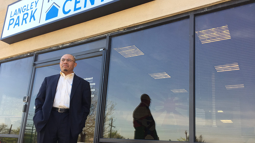 Norberto Martinez in front of Langley Park multi-service center. (Photo by J.F. Meils/Capital News Service)
