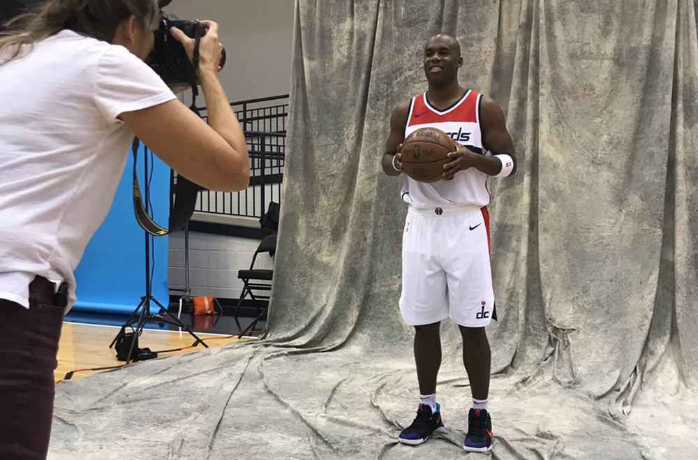 Jodie Meeks poses for a photo at Washington Wizards media day. Photo by Adam Zielonka / Capital News Service