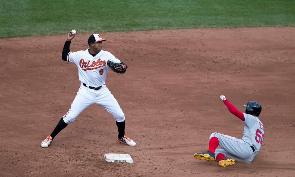 Orioles second baseman Jonathan Schoop throws to first base against the Boston Red Sox on April 23, 2017. Keith Allison/Flickr