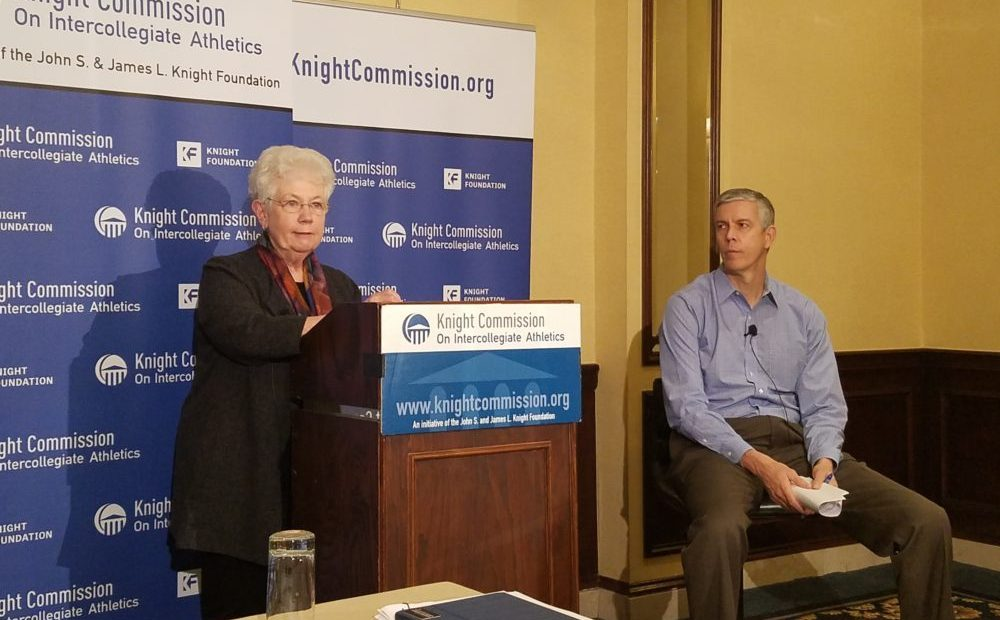 Carol Cartwright and Arne Duncan, co-chairs of the Knight Commission on Intercollegiate Athletics, give a press conference at their fall meeting Oct. 30, 2017. (Adam Zielonka / Capital News Service)