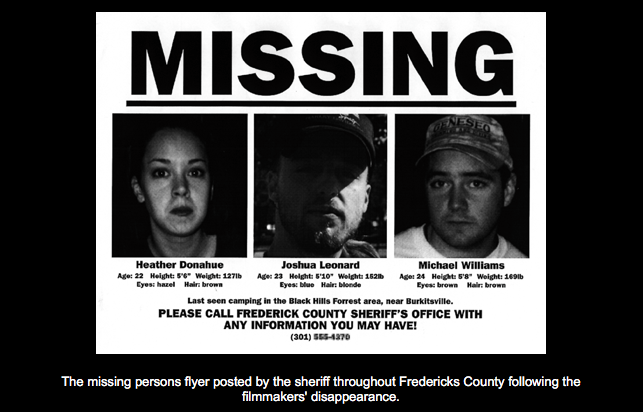 "Many people believed ""The Blair Witch Project"" was real after seeing this missing persons flier. (Courtesy blairwitch.com)"