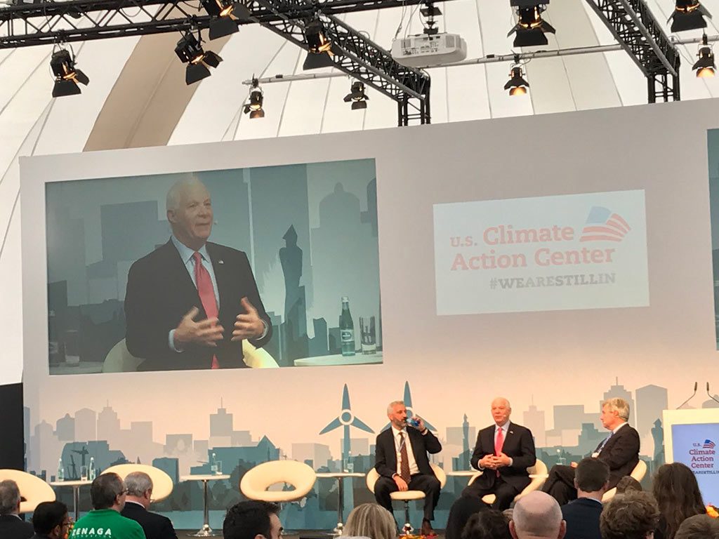 Maryland Senator Ben Cardin addresses an audience at the UN Climate Conference in Bonn, Germany. (Photo courtesy of Sen. Ben Cardin)