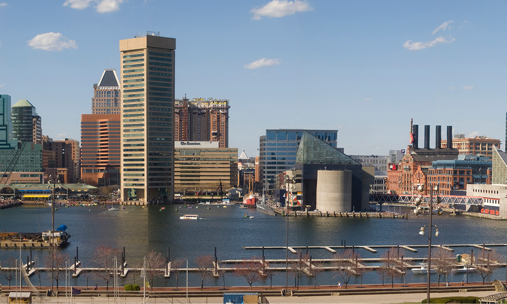 A view of Baltimore's Inner Harbor. Many of the movies filmed in Maryland were shot in Baltimore. (Photo courtesy Mark Peters via Wikimedia Commons)