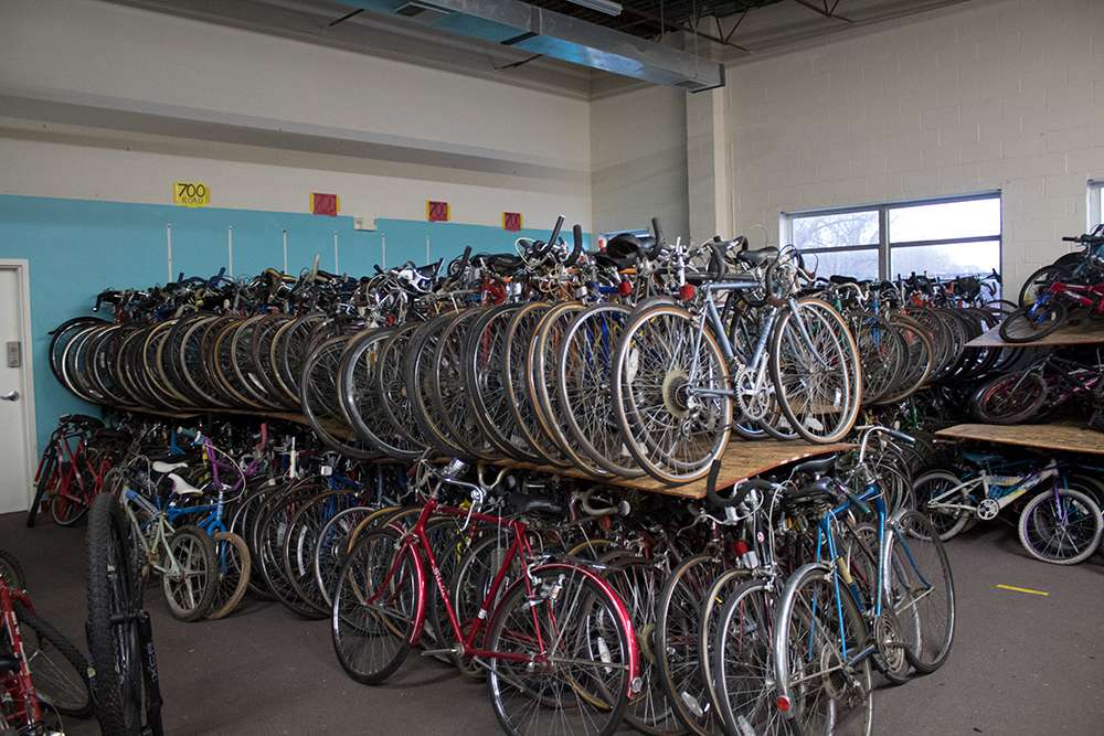 The Bikes for the World warehouse in Rockville, Maryland, houses more than 1,000 bicycles on Thursday, Nov. 30, 2017. (Josh Schmidt/Capital News Service)