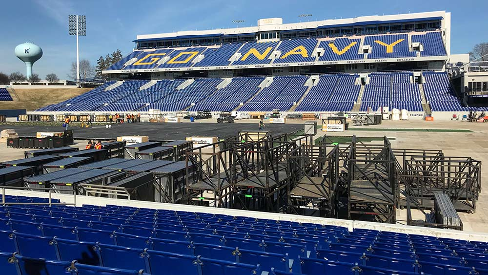 The Washington Capitals will play the Toronto Maple Leafs outdoors at Navy-Marine Corps Memorial Stadium. Construction of the playing surface began this week. Capital News Service photo by Julia Karron.