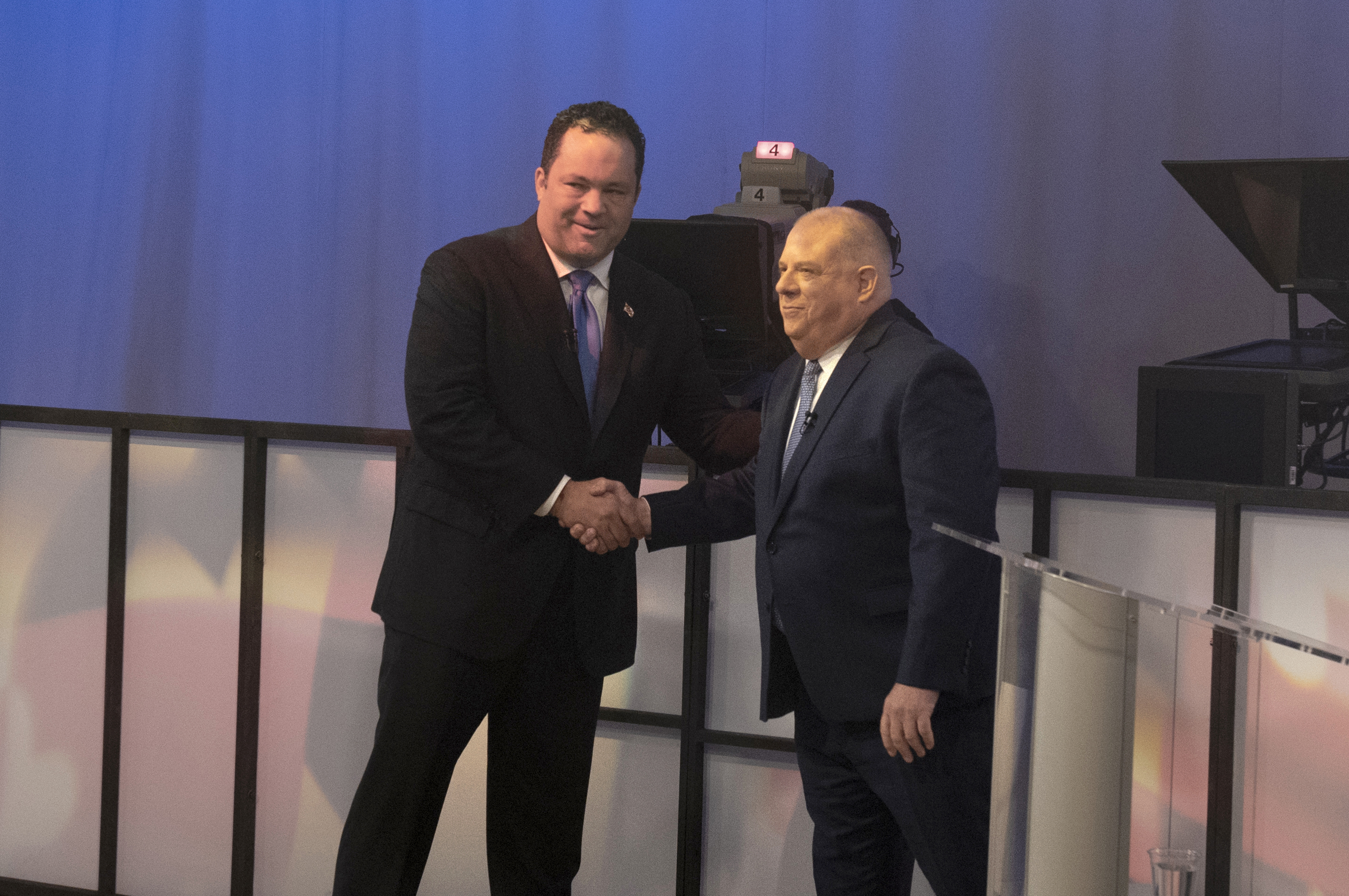 Democratic challenger Ben Jealous shakes hands with incumbent Republican Gov. Larry Hogan at the lone 2018 Maryland gubernatorial debate on Monday, Sept. 24, 2018, in Owings Mills, Maryland.